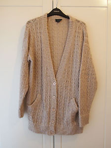 Topshop Nude Boyfriend Oversized Cardigan Cable Knit 8 10 12 | eBay