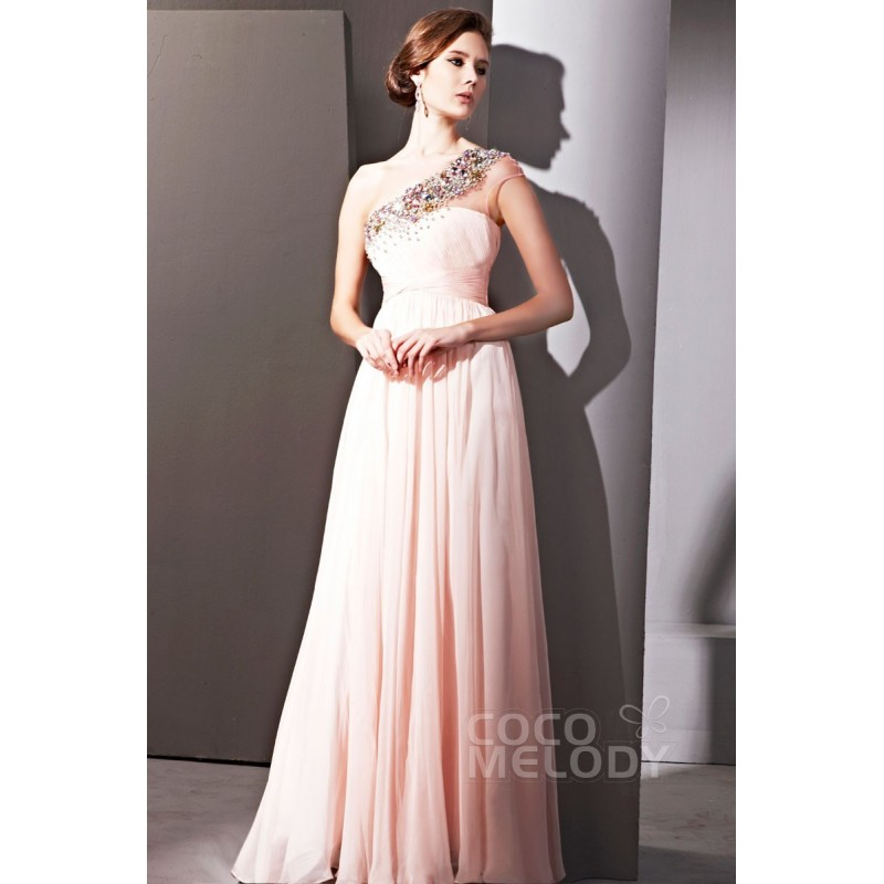 Fabulous Sheath-Column One Shoulder Floor Length Chiffon Evening Dress with Crystals COSF1401A - Top Designer Wedding Online-Shop
