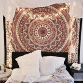 home accessory,mandala wall hanging,hippie wall hanging,hobo,hippie,bedroom,tumblr bedroom,boho decor,home decor,bedroom inspo,beautiful,brown,lights