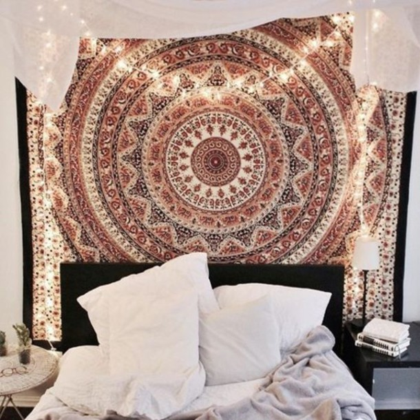 Home accessory mandala wall hanging hippie wall hanging for Bedroom wall designs tumblr