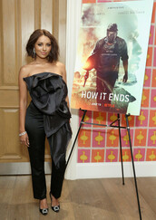 top,pants,bow,all black everything,kat graham,celebrity,strapless,black blouse