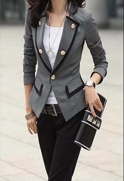 grey blazer blazer jacket pinteres gray blazer, military, buttons