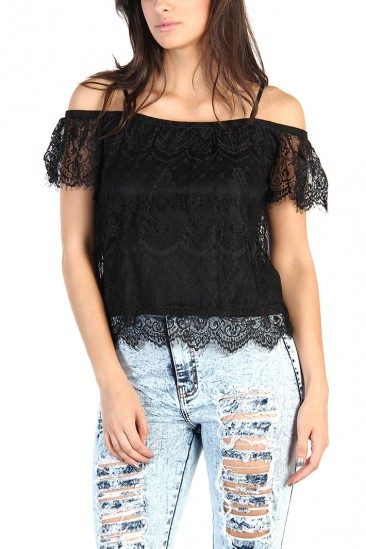 LoveMelrose.com From Harry & Molly | Lace Off Shoulder Top - Black