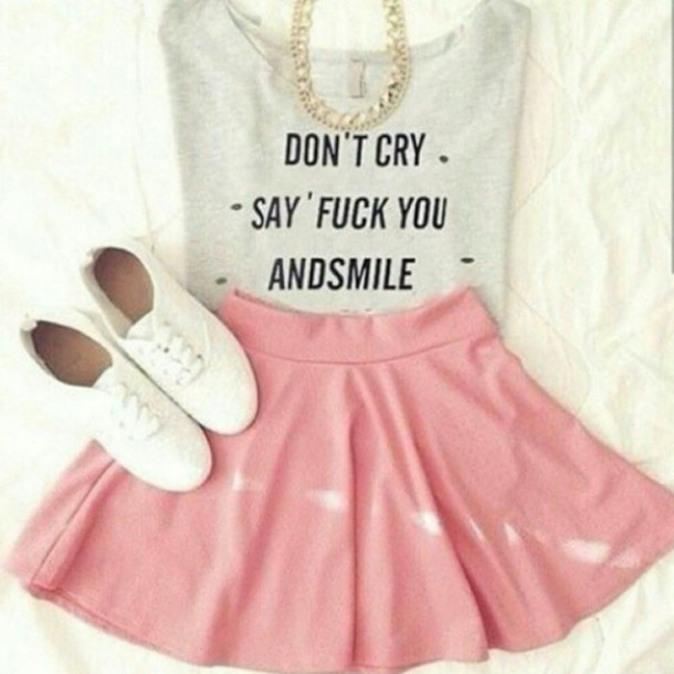 top quote on it grey style fashion outfit pink dress skirt