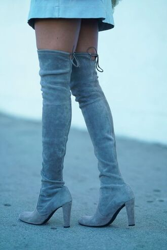 shoes tumblr boots grey boots over the knee boots over the knee high heels boots