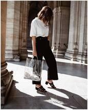 shoes,suede,mules,strappy,wide-leg pants,black pants,white t-shirt,transparent  bag