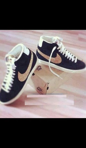shoes nike black doré