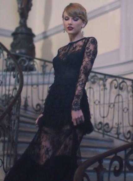 black dress lace dress swift taylor swift long dress