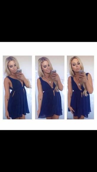 dress cute dress cute style sexy fashion lovely pepa blue dress blue navy darkblue sexydress blonde hair
