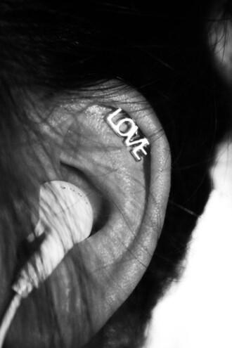 jewels earrings silver love stud helix earing helix piercing
