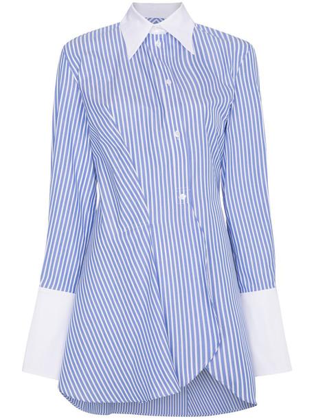 Wright Le Chapelain shirt asymmetric shirt long women cotton blue top