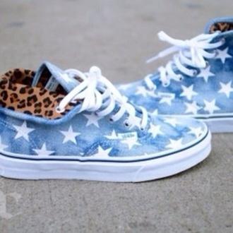 shoes blue stars tiger leopardo vans cool leopard print