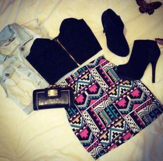 skirt colourfultribal blackshoes zippertop tribal skirt tightskirt skintight miniskirt blackcroptop jeanjacket wallet blouse coat shoes