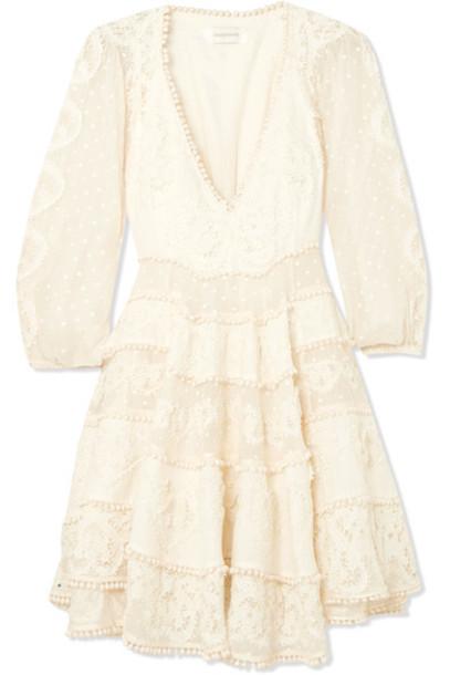 Zimmermann dress mini dress mini embroidered lace cotton silk cream
