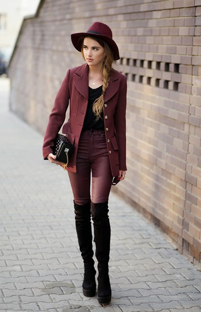 madame julietta blogger jacket hat winter outfits burgundy skinny pants  knee high boots coat pants shoes