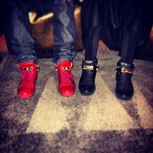 shoes,red,gold,high top sneakers,sneakers,Buscemi 100 mm