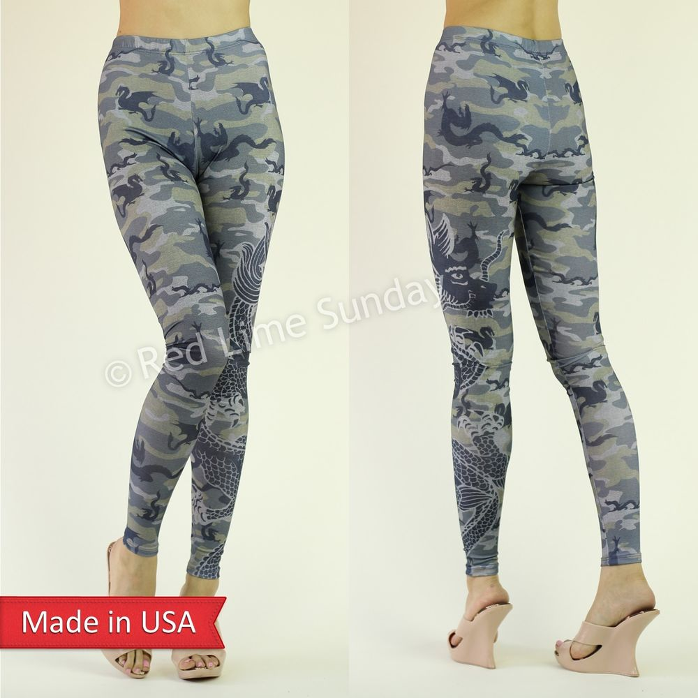 New Camouflage Animal Print Asian Dragon Tattoo Print Leggings Tights Pants USA