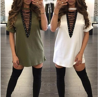 dress lace up lace tie tie up green
