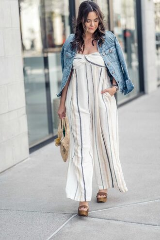 live more beautifully blogger jumpsuit jacket jewels shoes bag denim jacket spring outfits striped jumpsuit wedge sandals