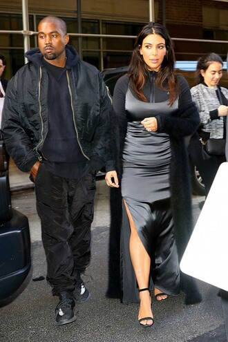 top slit dress kim kardashian all black everything sandals gown prom dress maxi dress kardashians