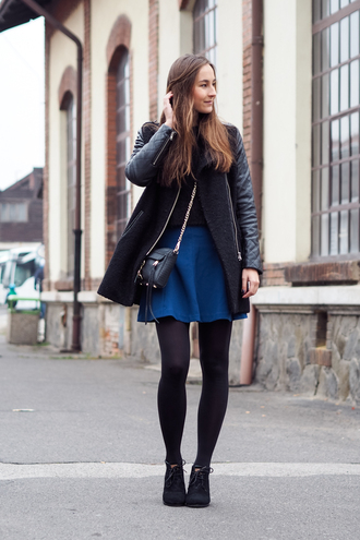 bag blogger coat a cup of style skater skirt blue skirt winter outfits