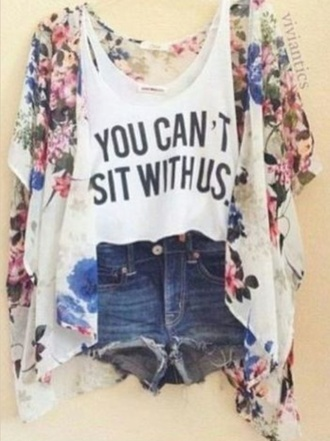 blouse you can't sit with us style fashion trendy popular tumblr outfit tumblr shirt cute shirt cardigan