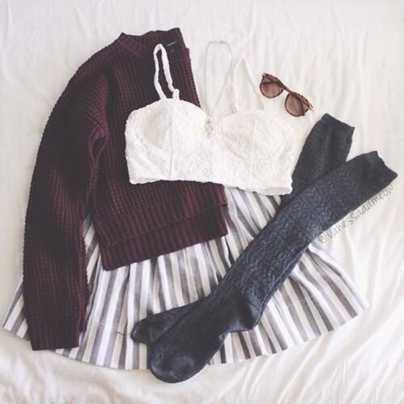 sweater burgundy sweater blouse crochet lace lace crop top skirt