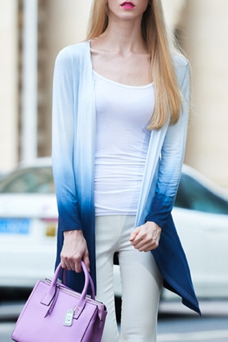 cardigan ombre white gradient blue long sleeves open front ombre color trench coat cool fall outfits stylish casual