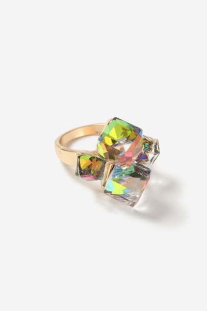 TopShop Cube Cocktail Ring - Clear