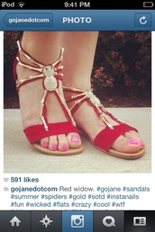 shoes,red widow,sandals,cute,spiders,gold,gojane