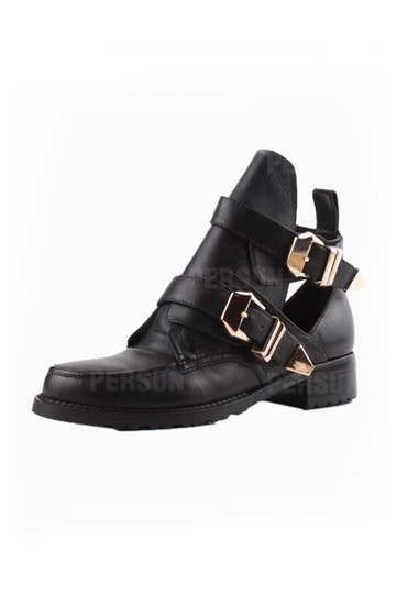 Chic Metal Buckle Cut Out Boots [HXM2002] - PersunMall.com