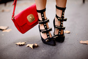 shoes,high heels,black,gold,red,bag,bows,straps,studs,pointed toe