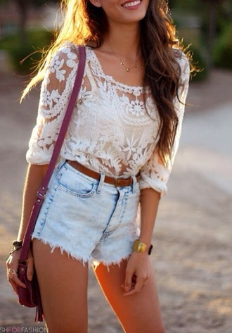 blouse bag shorts lace shirt white lace summer outfits pants sweater floral floral hot pants nice style