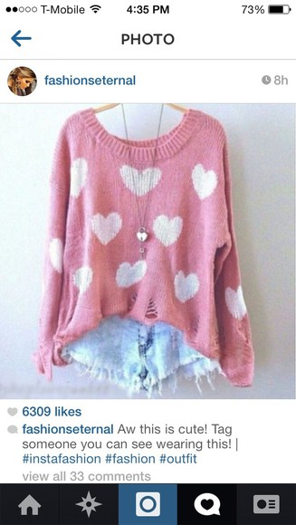 hearts pink sweater