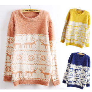 Deer snowflake round neck sweater for women from showmall on storenvy