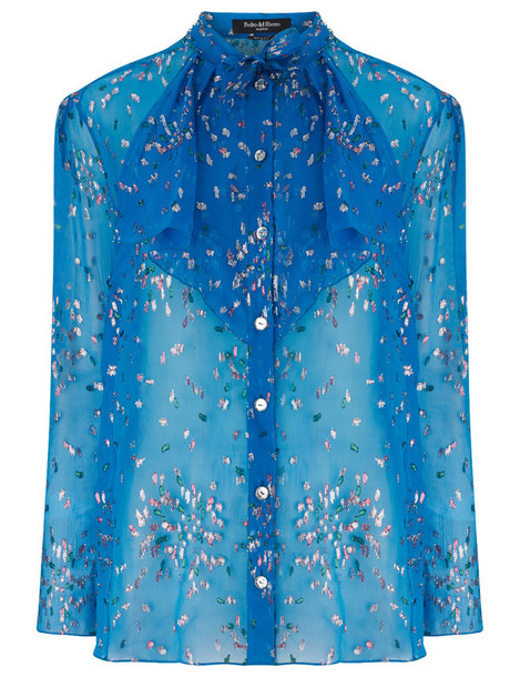 Pedro del Hierro blouse chiffon blue