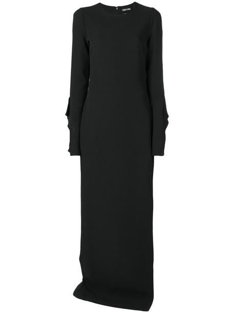 Tom Ford gown women slit spandex black silk dress
