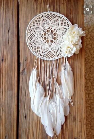 home accessory dreamcatcher dreamcatchers white knit flowers