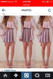 t-shirt,crop tops,pink,skirt,cardigan,outfit,necklace,tank top,blouse,jacket,shoes,jewels,sweater,shirt,top
