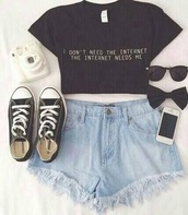 top,internet,camera,crop tops,High waisted shorts,shorts,shoes,hair accessory,sunglasses,shirt,pls,now,black crop top,quote on it