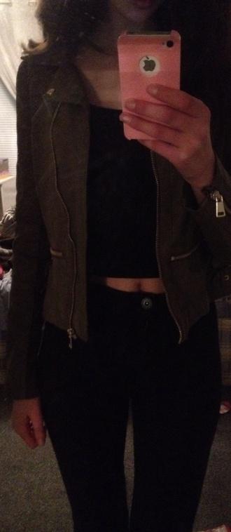 jacket khaki leather jacket winter jacket fashion style jeans black high waisted pants crop tops crop tops high waisted shorts