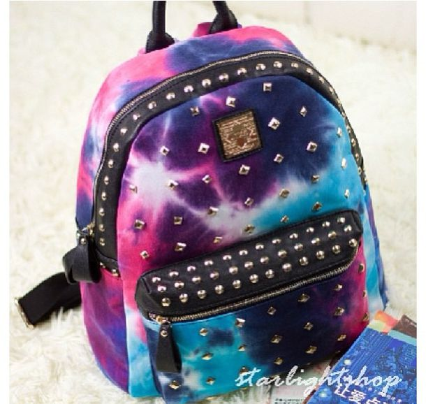 Bag: pink, purple, black, white, galaxy print, studs, bookbag ...