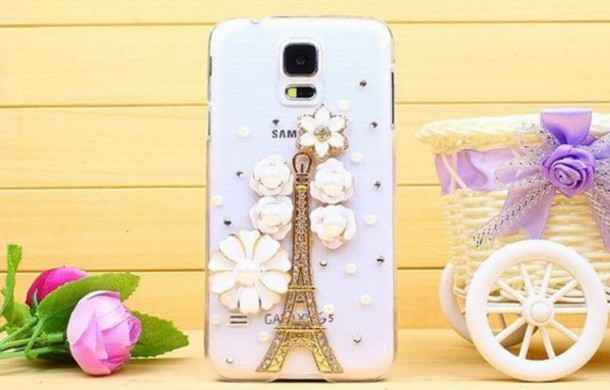 phone cover transparent cover case paris rhinestones gold galaxy s5 cases eiffel tower flowers