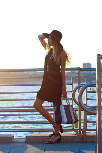 the marcy stop blogger dress hat jewels bag shoes