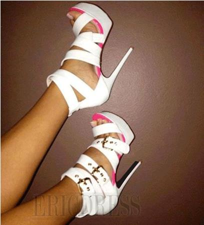 $ 98.69 Elegant White Coppy Leather Amazing Ankle Strap High Heel Sandals