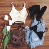 bag,on point clothing,crossbody bag,leather crossbody bag,brown leather bag,fringes,cute bag,bralette,bralette tops,knit bralette top,ripped jeans,jeans,pants,boyfriend jeans,scalloped edges,boots,ankle boots,gorgeous,fashionista,necklace,jewels,jewelry,festival,hipster,style,boho,cute,girly,indie,summer,tumblr,tumblr outfit,top,crop tops,girl,denim,blogger,instagram,vintage
