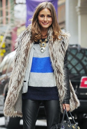 coat,olivia palermo,fur,stripes,leather pants