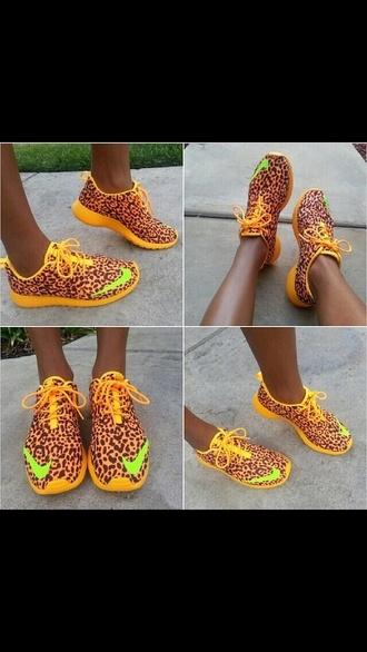 shoes nike leopard print neon orange