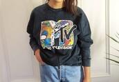 sweater,retro,vintage,mtv shirt,grey