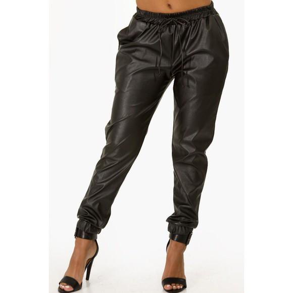leather black leather pants faux leather black pants pants
